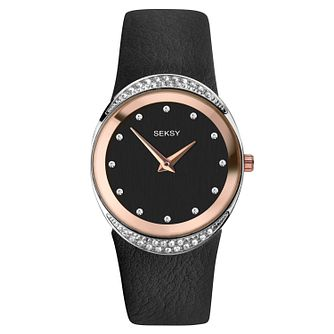 Seksy Black Leather Strap Watch - Product number 9734686