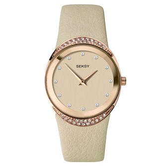 Seksy Beige Leather Strap Watch - Product number 9734708