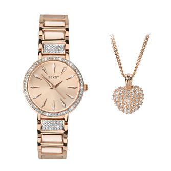 Seksy Ladies' 2-Piece Crystal Rose Gold Plated Set - Product number 9734805