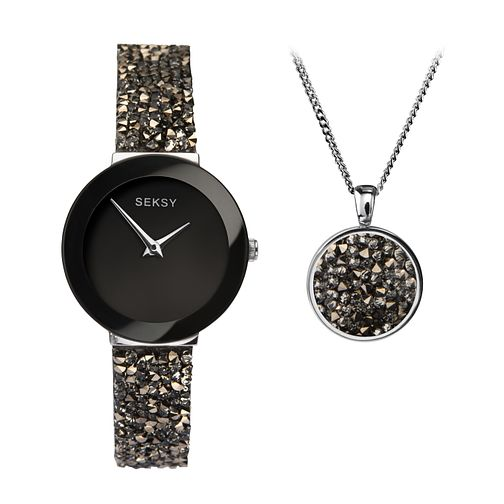 Seksy Rocks® Ladies' Swarovski Rhodium Plated Gift Set - Product number 9734813