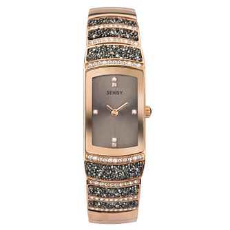 Seksy Rocks® Rose Gold Plated Bracelet Watch - Product number 9734856