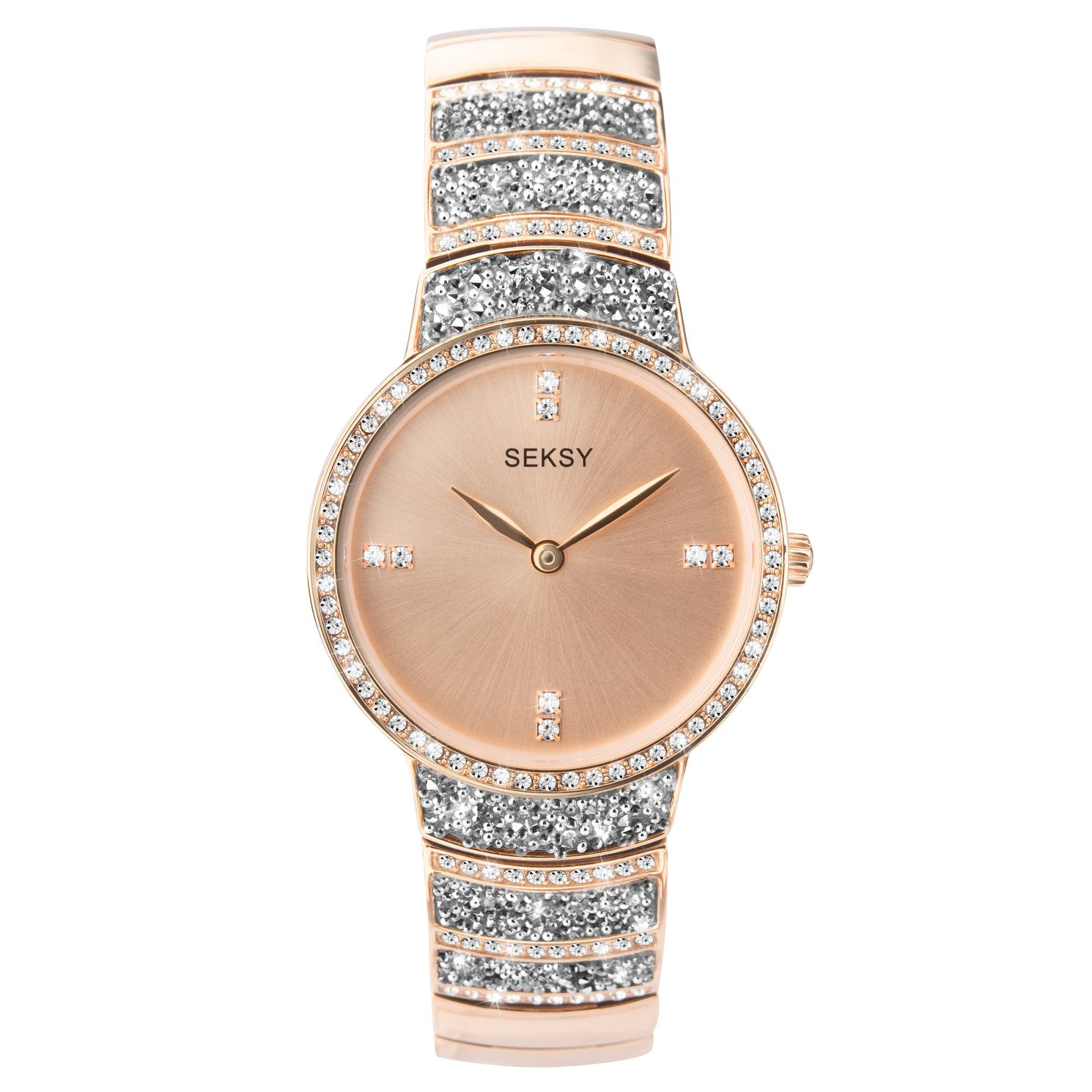 Seksy Rocks® Rose Gold Plated Bracelet Watch - Product number 9734872