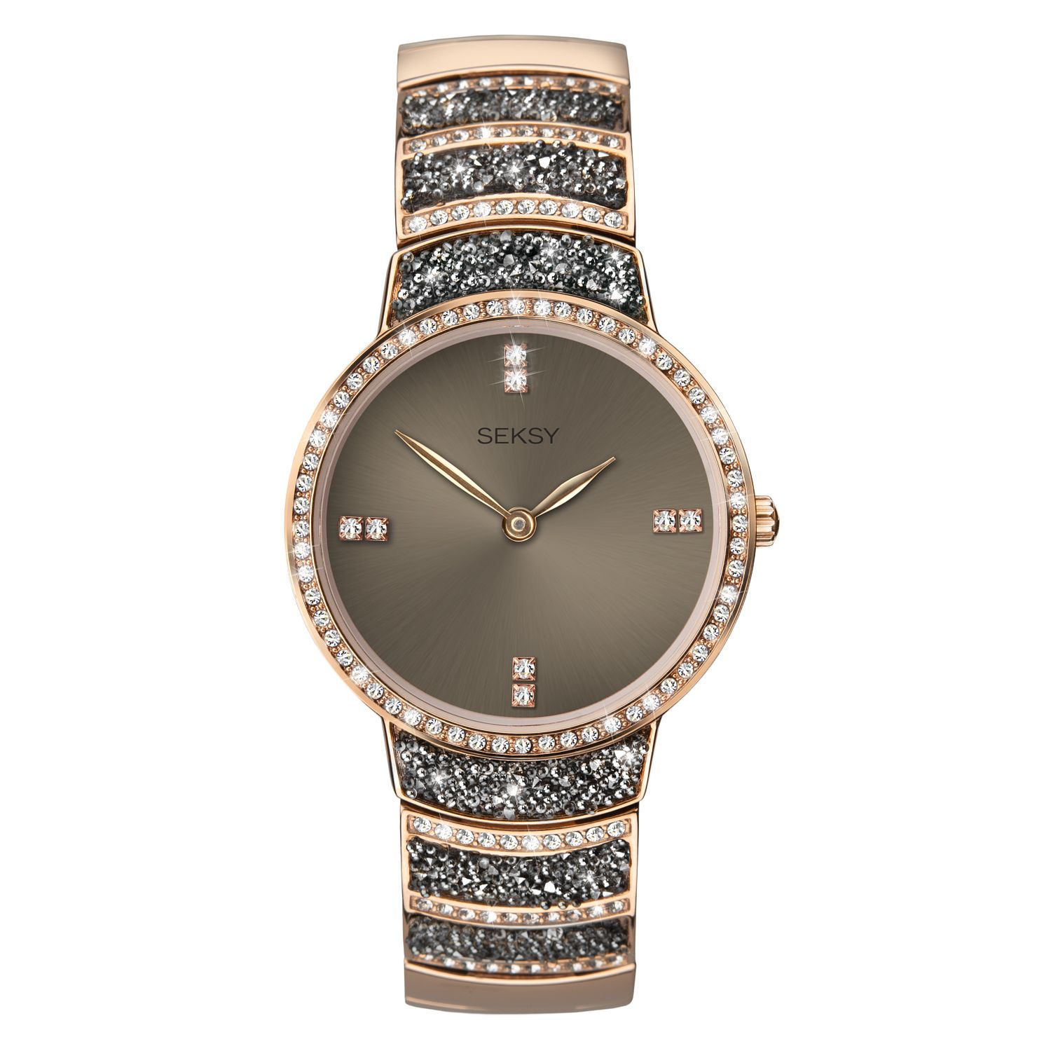 Seksy Rocks® Rose Gold Plated Bracelet Watch - Product number 9734880