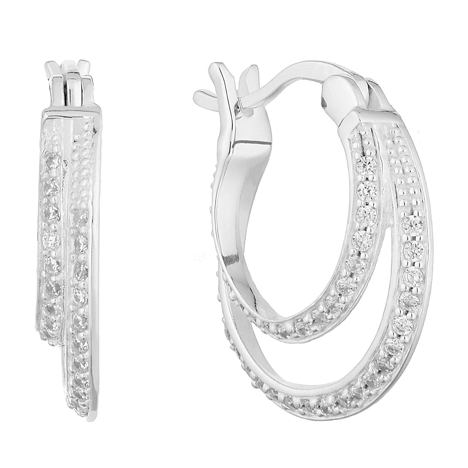 Silver Cubic Zirconia Creole Earrings - Product number 9734953