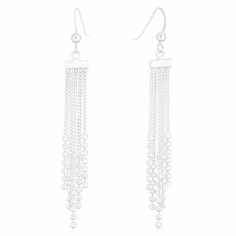 Silver Ball Chain Tassel Drop Earrings - Product number 9734996