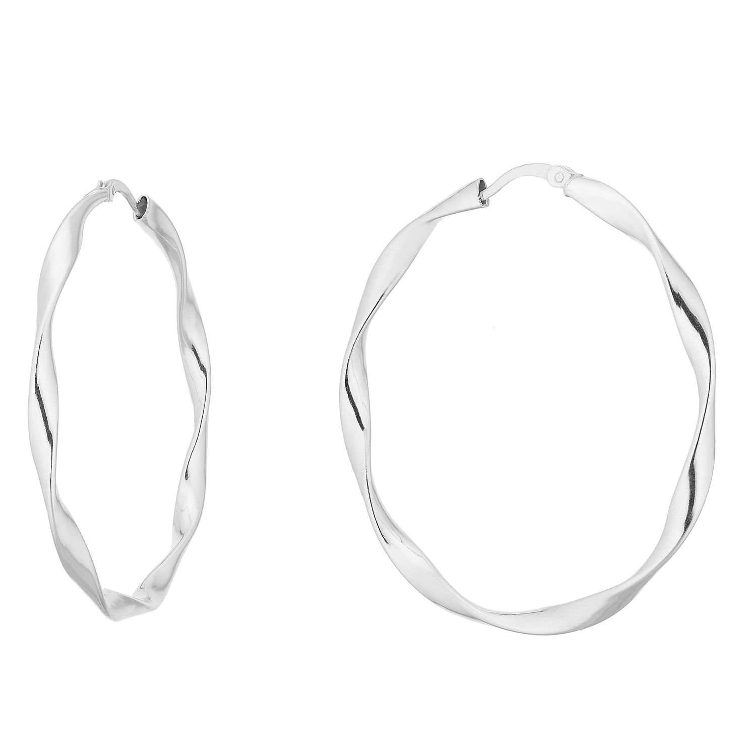 Silver 40mm Twist Hoops - Product number 9735011