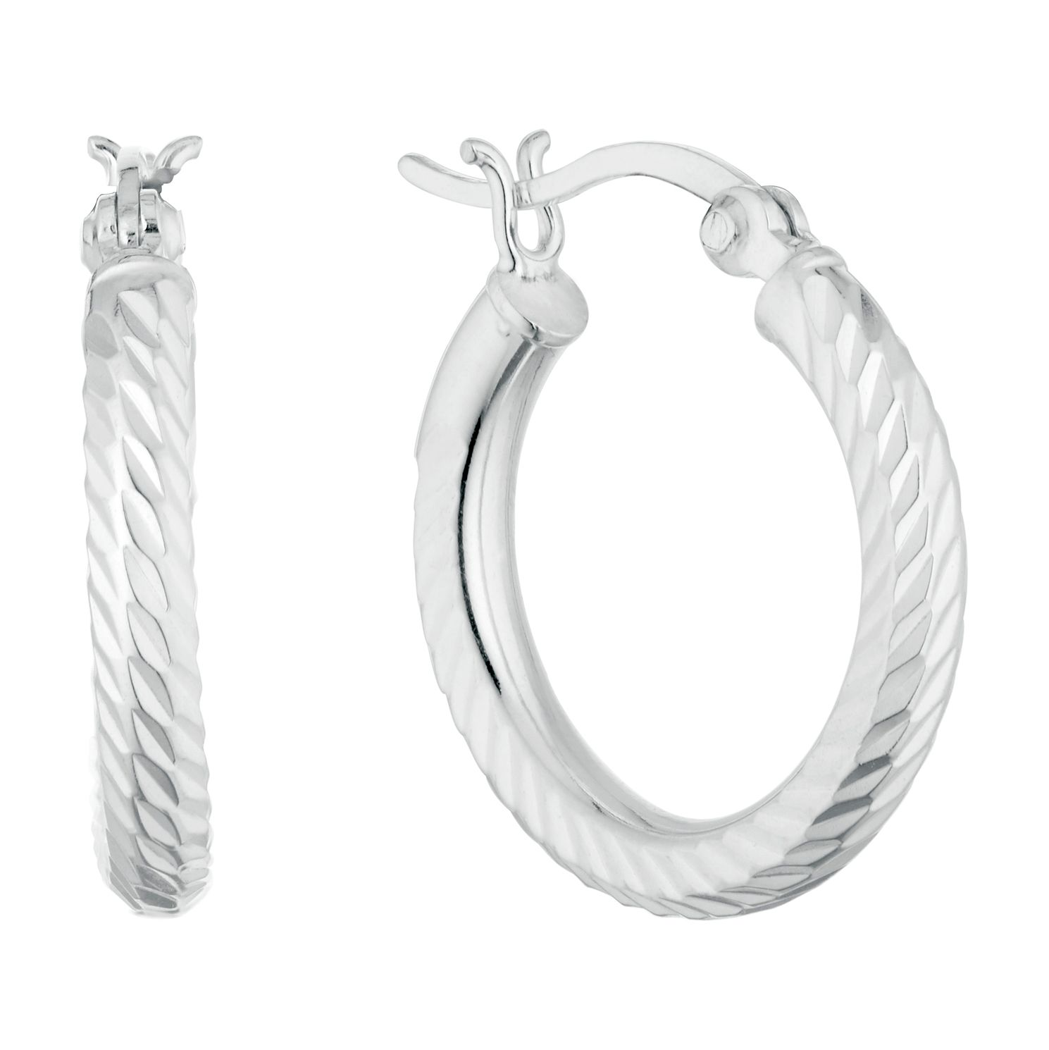 Sterling Silver Diamond Cut 15mm Hoop Earrings - Product number 9735224