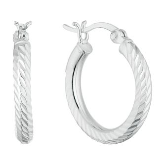 Silver 15mm Diamond Cut Hoops Earrings - Product number 9735224