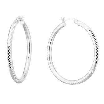 Silver 35mm Diamond Cut Hoops Earrings - Product number 9735232