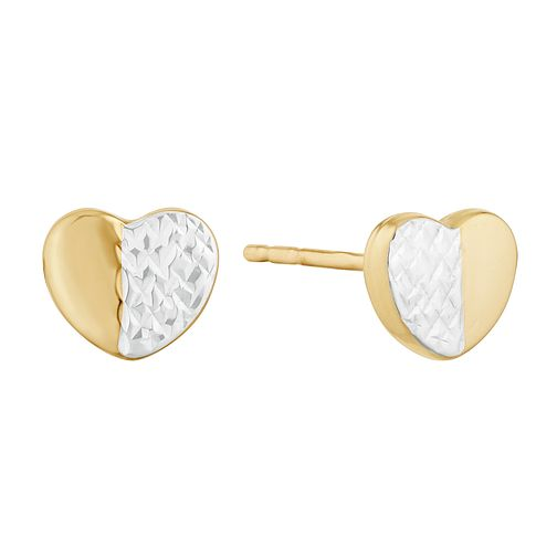 9ct Yellow Gold Two Colour Heart Stud Earrings - Product number 9735720