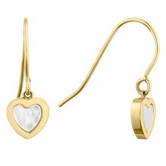 9ct Yellow Gold Mother of Pearl Heart Drop Earrings - Product number 9735747