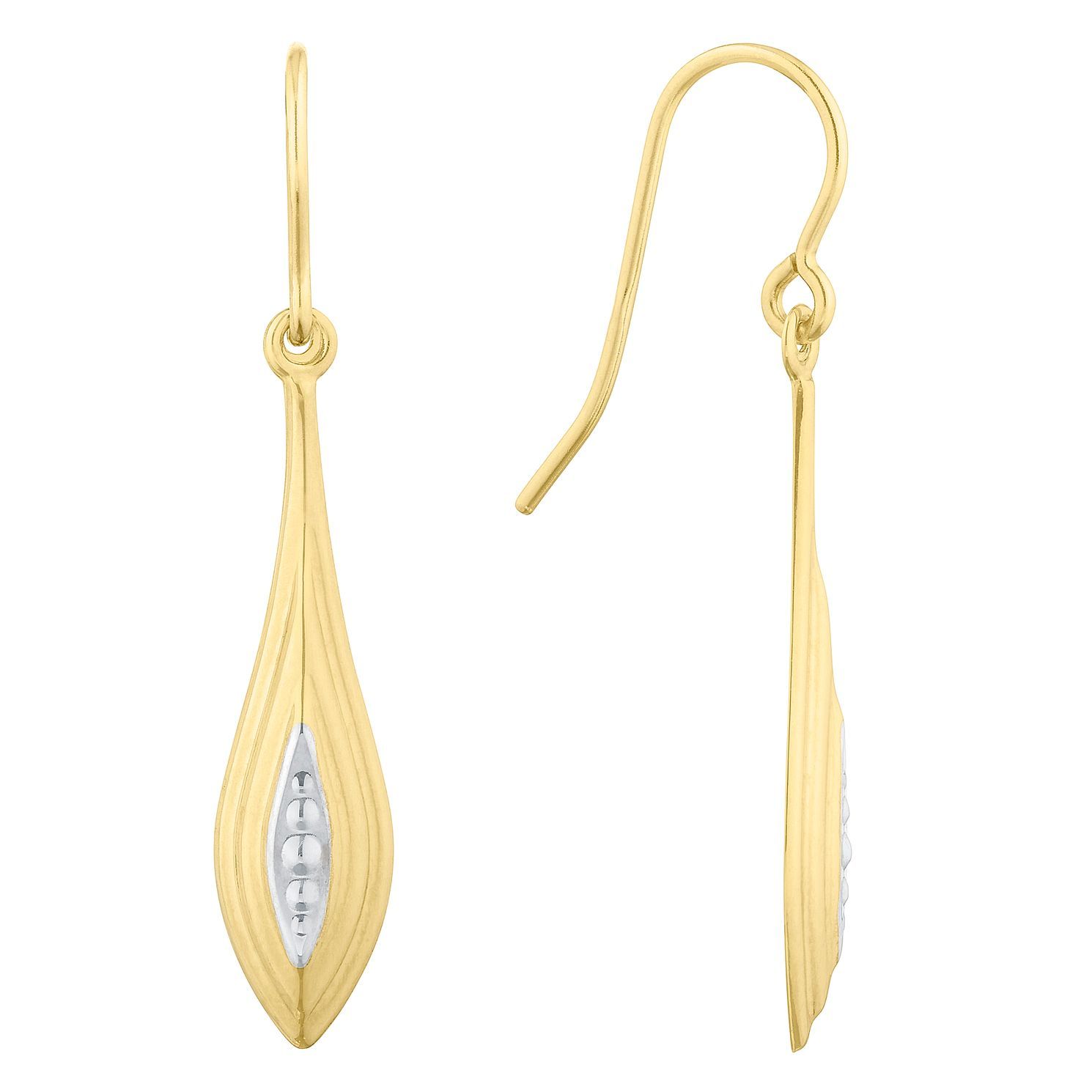 9ct Yellow Gold Two Tone Teardrop Drop Earrings - Product number 9735755