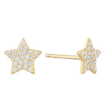 9ct Yellow Gold Cubic Zirconia Star Stud Earrings - Product number 9735798