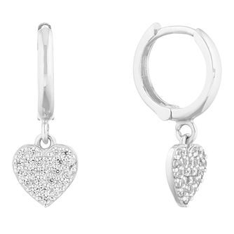 9ct White Gold Cubic Zirconia Heart Charm Hoop Earrings - Product number 9735801