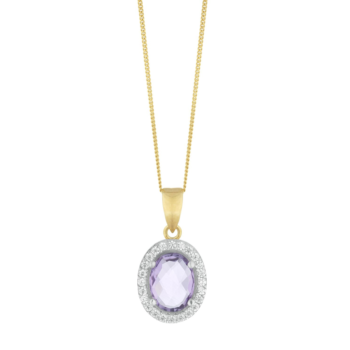 9ct Yellow Gold Amethyst  & Cubic Zirconia Oval Pendant - Product number 9735828
