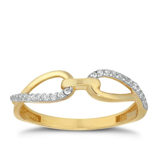 9ct Yellow Gold Cubic Zirconia Affinity Bar Ring - Product number 9736174