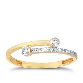 9ct Yellow Gold & Cubic Zirconia X/O Ring - Product number 9736344