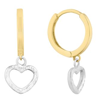 9ct Yellow Gold Two Tone Heart Charm Hoop Earrings - Product number 9736662