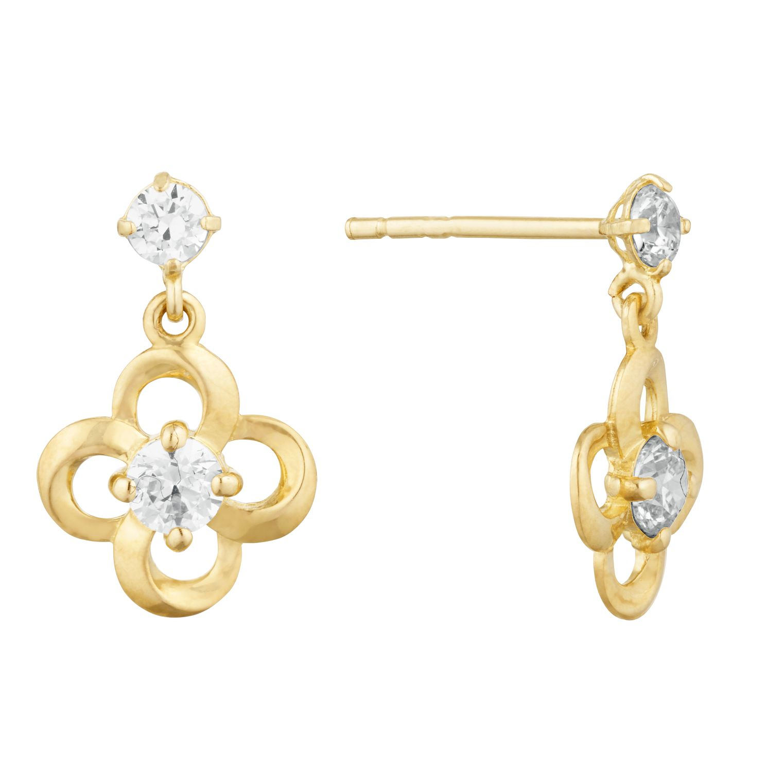9ct Yellow Gold Cubic Zirconia Flower Drop Earrings - Product number 9736700