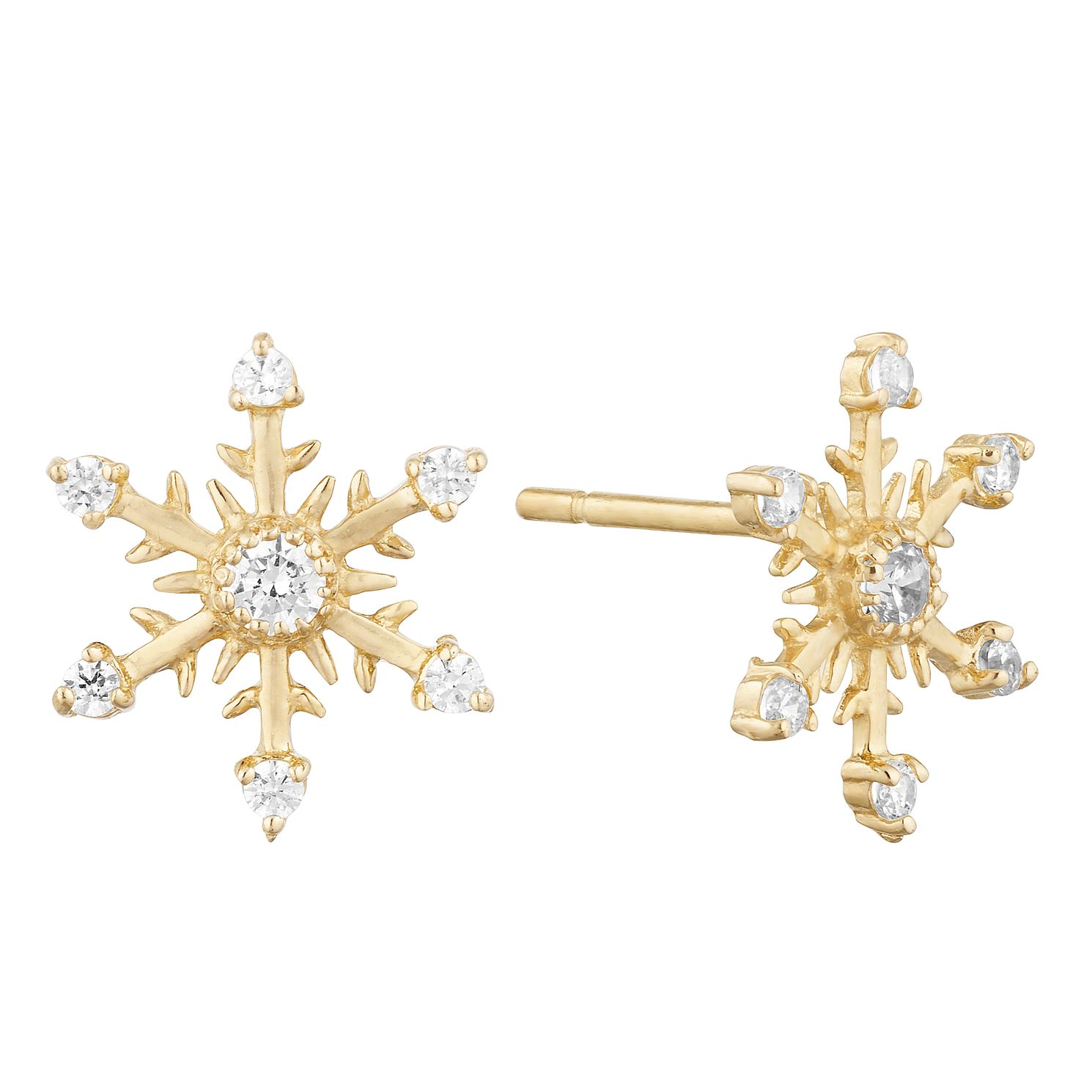 9ct Yellow Gold Cubic Zirconia Snowflake Stud Earrings - Product number 9736719