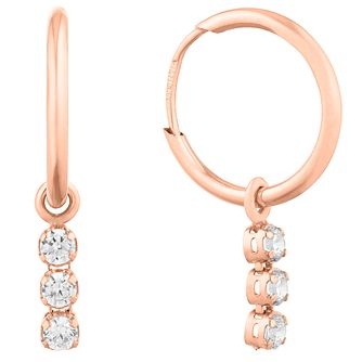 Rose Gold Three Cubic Zirconia Sleeper Earrings - Product number 9736832