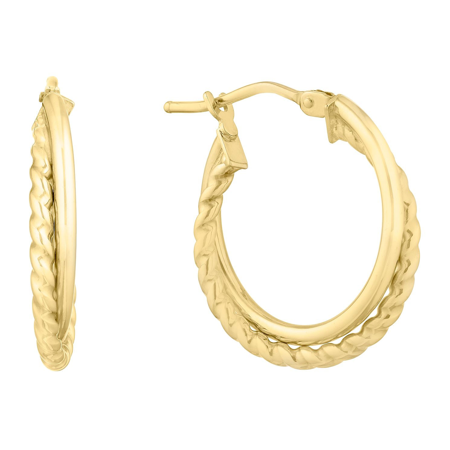 9ct Yellow Gold Silver Double Band Creoles Earrings - Product number 9736867