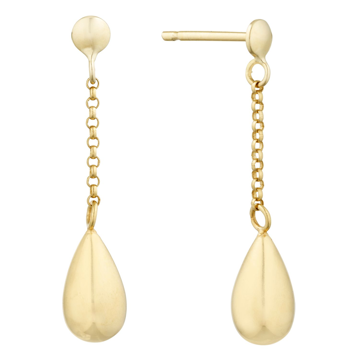 9ct Yellow Gold Teardrop Chain Drop Earrings - Product number 9737022