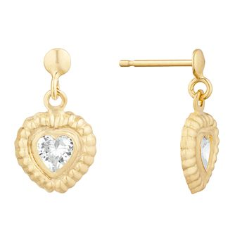 9ct Yellow Gold Cubic Zirconia Heart Drop Earrings - Product number 9737146