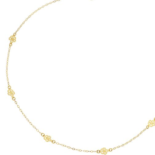 9ct Yellow Gold 5 Dainty Flower Choker - Product number 9738606