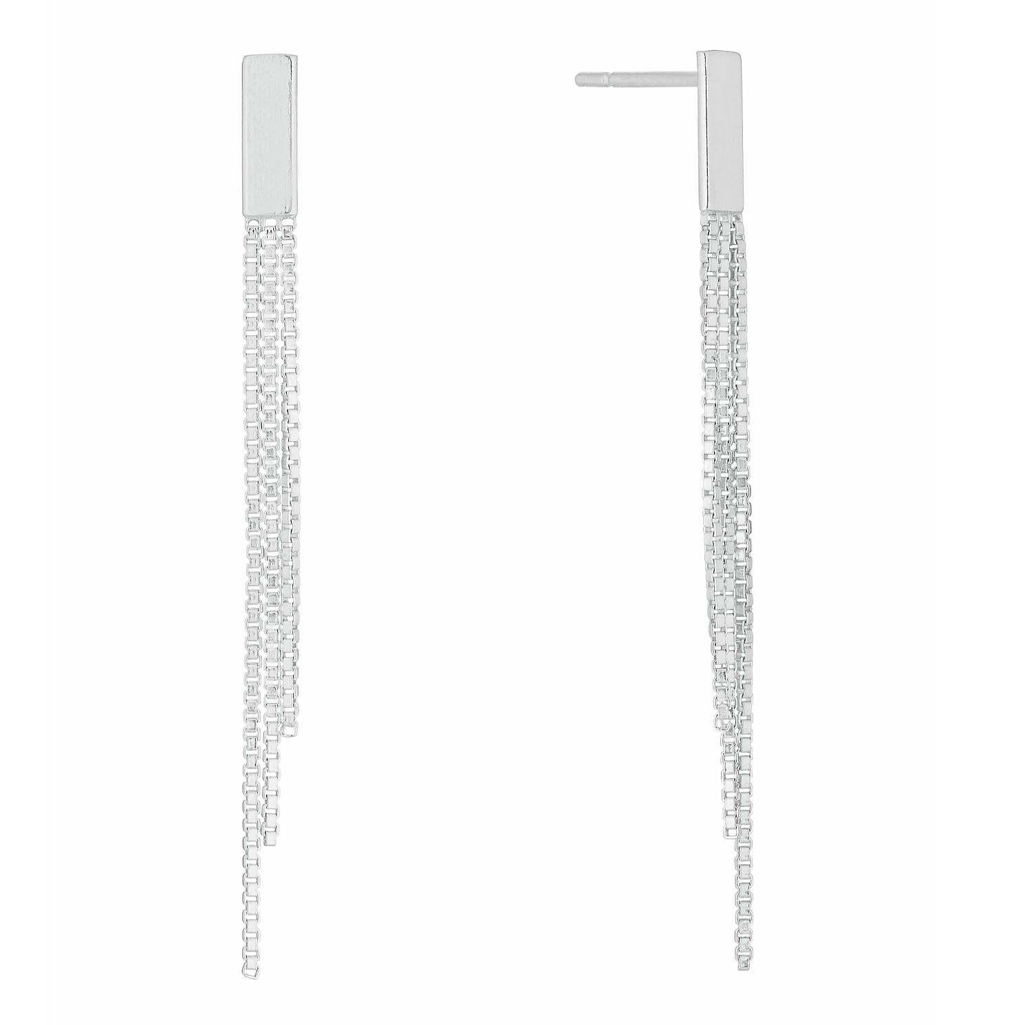 Silver Box Chain Tassel Drop Earrings - Product number 9741674
