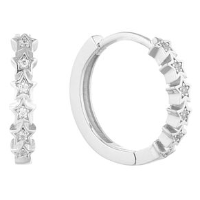 Silver Cubic Zirconia Star Hoops - Product number 9742263