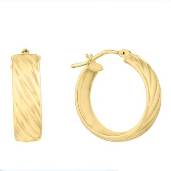 9ct Yellow Gold Thick Striped 15mm Hoop Earrings - Product number 9742921