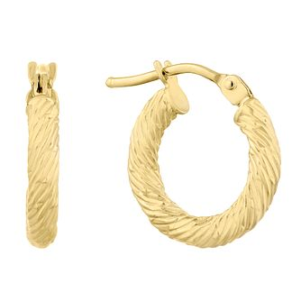 9ct Yellow Gold Textured Creoles Earrings - Product number 9742964
