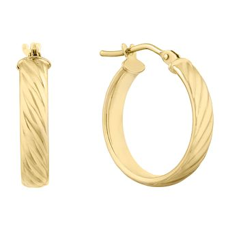 9ct Yellow Gold Striped Creoles Hoop Earrings - Product number 9742972
