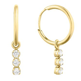 9ct Yellow Gold Three Cubic Zirconia Sleeper Earrings - Product number 9742980