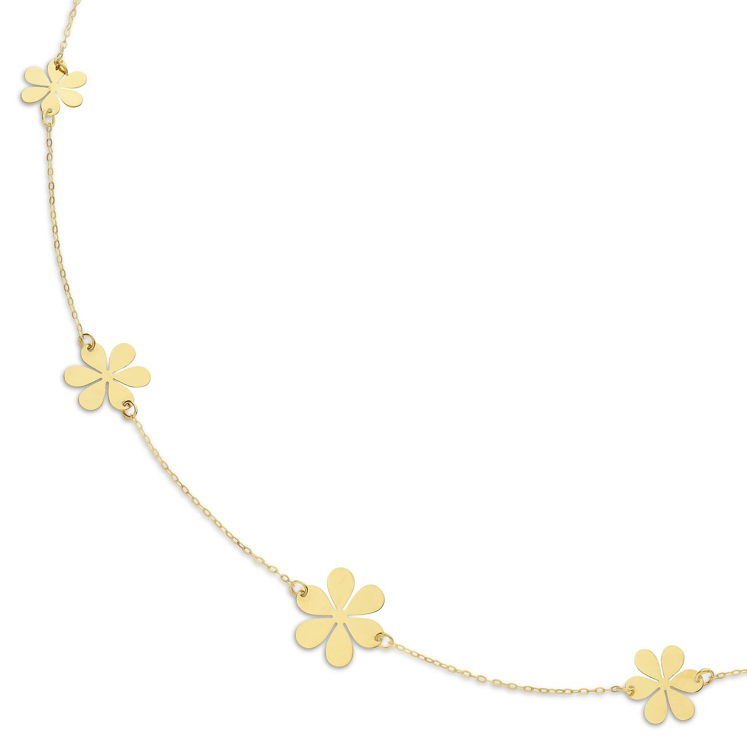 9ct Yellow Gold 5 Flower Necklace - Product number 9743065