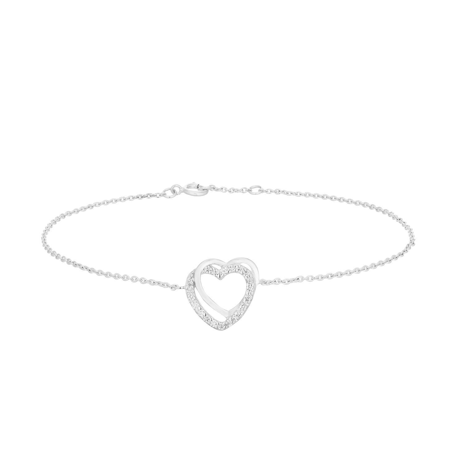 Silver Cubic Zirconia Double Heart Bracelet - Product number 9743820