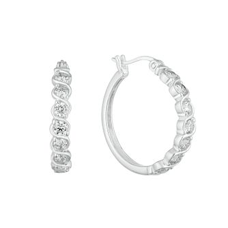 Silver 23mm Wave Hoops Earrings - Product number 9744045