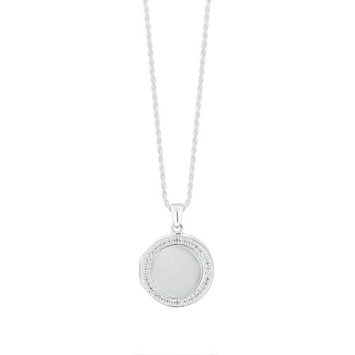 Silver Cubic Zirconia Mother of Pearl Locket - Product number 9744126