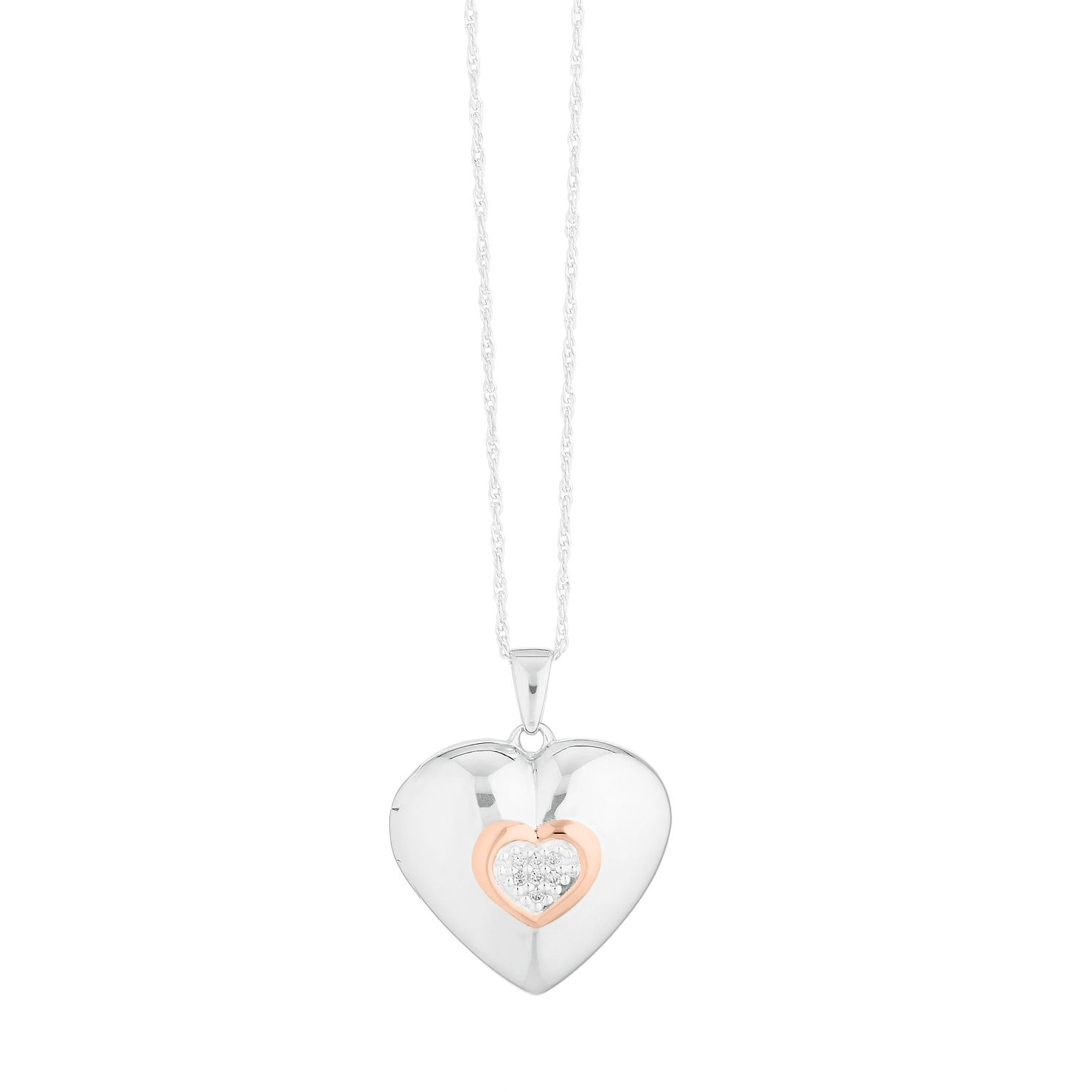 Silver Rose Gold Plated Heart and Cubic Zirconia Locket - Product number 9744150