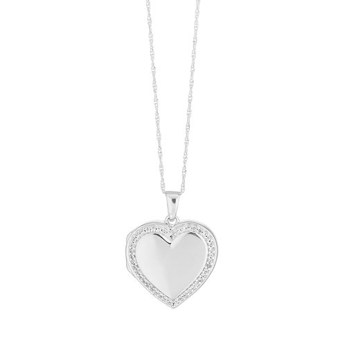 Silver Cubic Zirconia Heart Locket - Product number 9744223