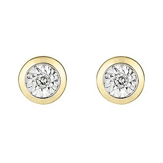 9ct Yellow Gold Illusion Set Diamond Rub Over Stud Earrings - Product number 9745416