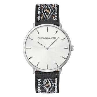 Rebecca Minkoff Major Ladies' Stitched Black Leather Watch - Product number 9745629