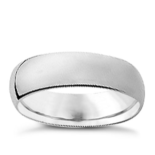 18ct white gold 6mm super heavyweight court ring - Product number 9745637