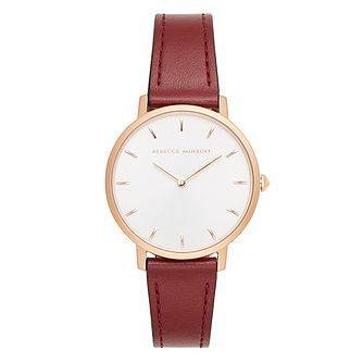 Rebecca Minkoff Major Ladies' Burgundy Leather Strap Watch - Product number 9746021