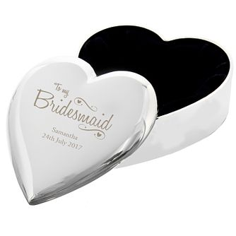 Engraved Bridesmaid Swirls & Hearts Trinket Box - Product number 9746196