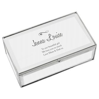 Engraved Swirls & Hearts Mirrored Jewellery Box - Product number 9746226