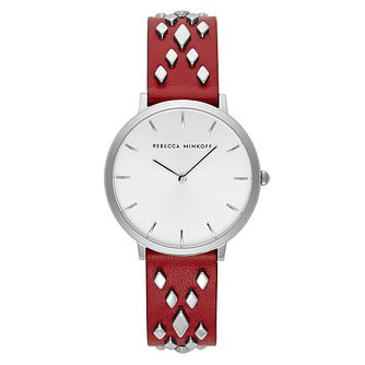 Rebecca Minkoff Major Ladies' Red Studded Strap Watch - Product number 9746447
