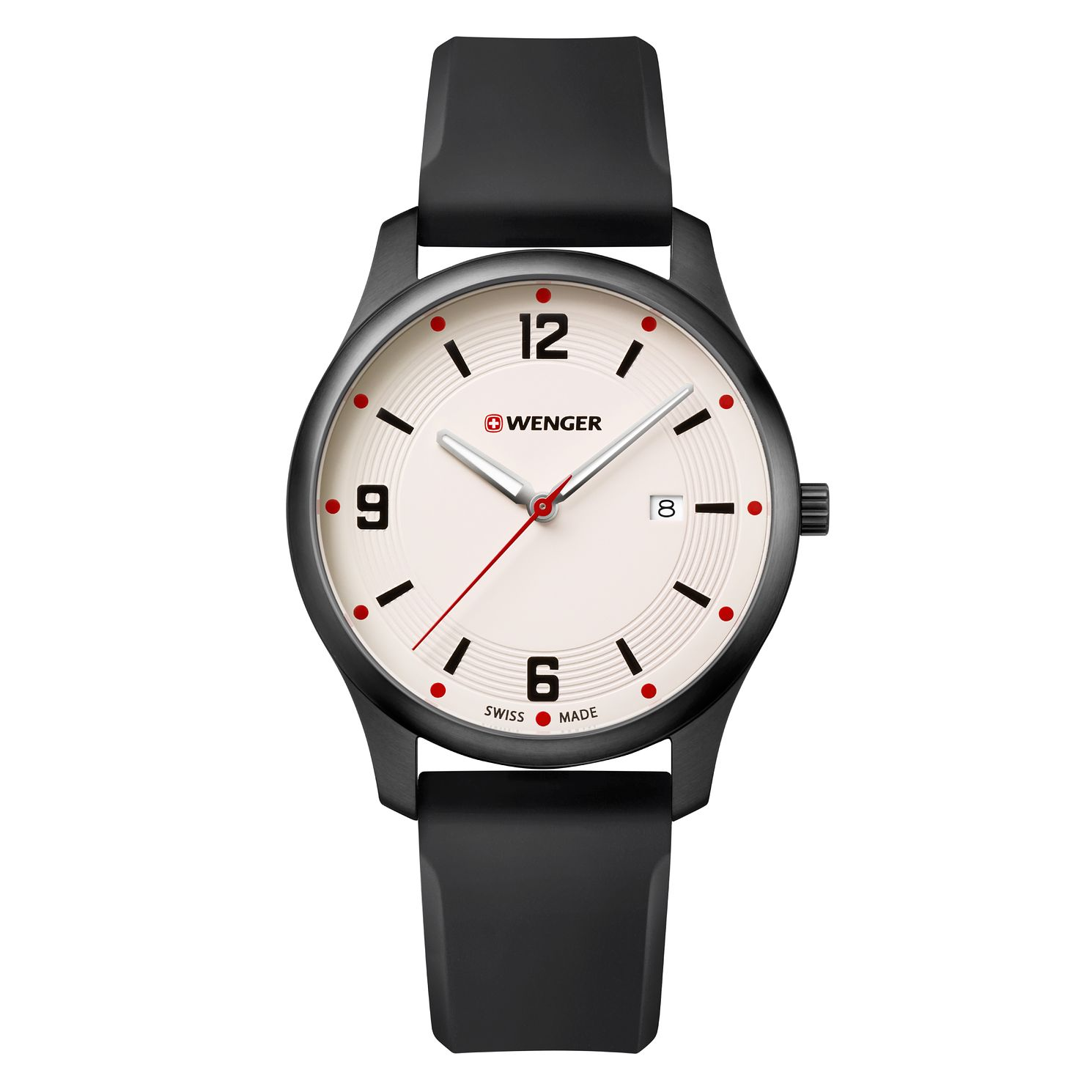Wenger City Active Cream Dial Black Silicone Strap Watch - Product number 9746471