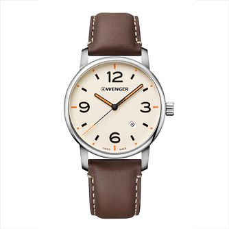 Wenger Urban Metropolitan Brown Leather Strap Watch - Product number 9746528